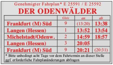 Fahrplan Zusatzzug Michelstadt 2019