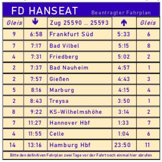 beantragter Fahrplan für die Hamburgfahrt 2019